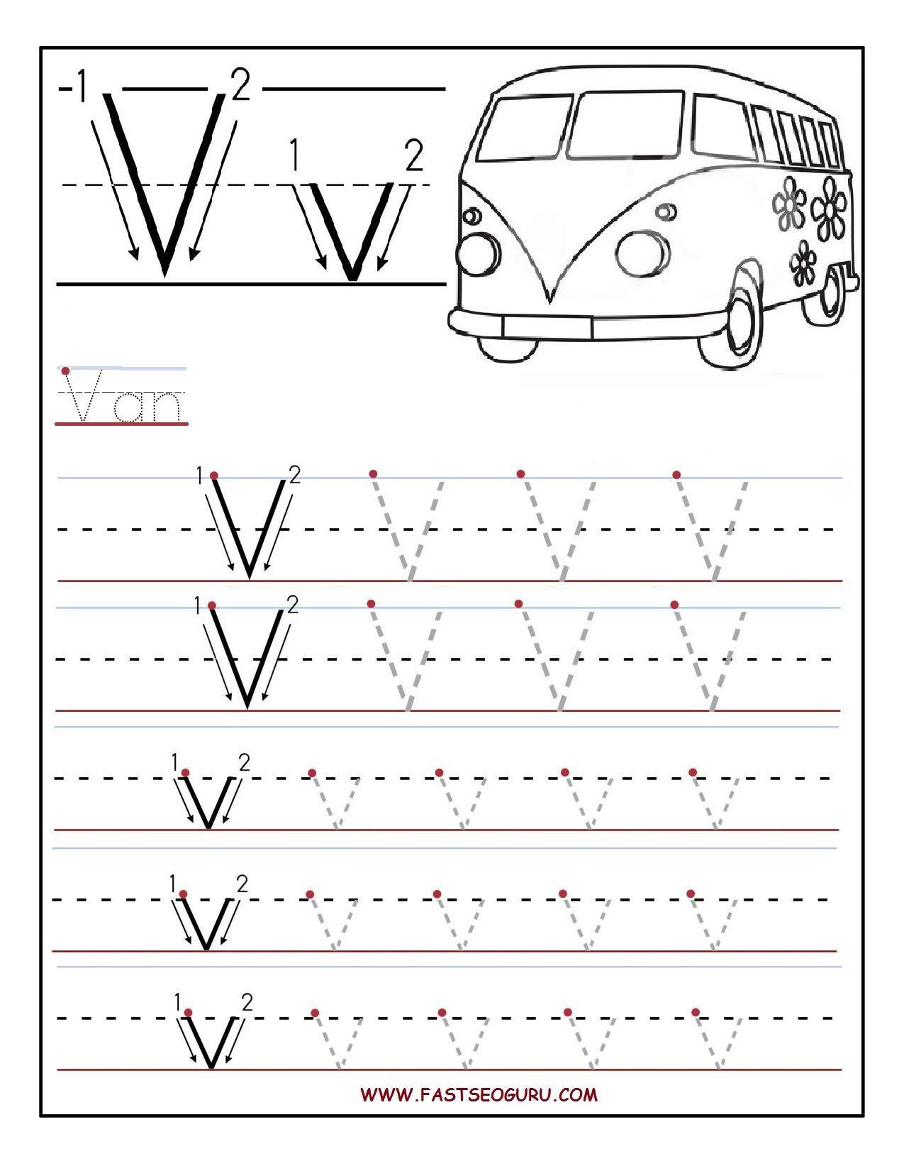 Letter V Worksheets Preschool Printable Letter V Tracing Worksheets for Preschool