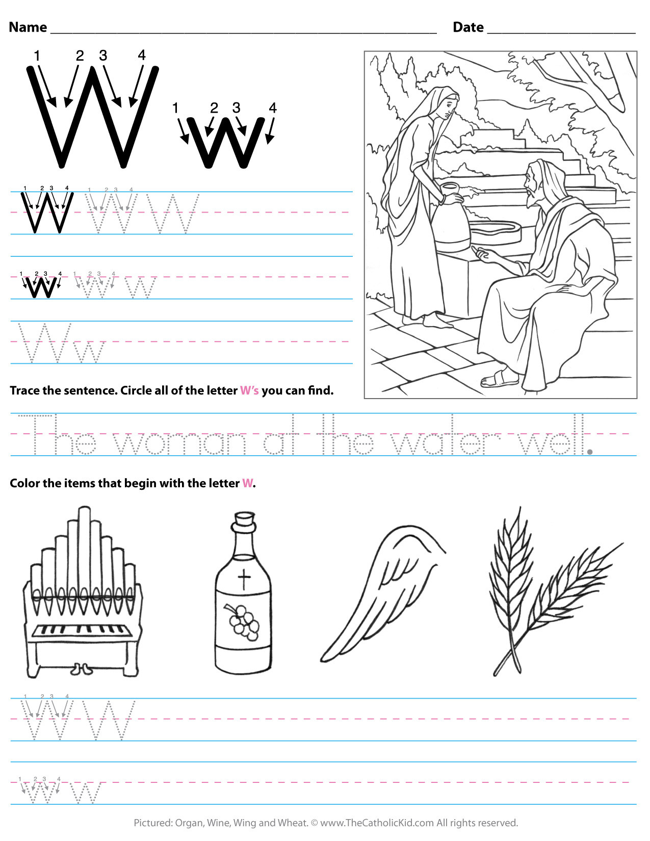 Letter W Worksheets for Preschoolers Catholic Alphabet Letter W Worksheet Preschool Kindergarten