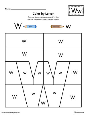 Letter W Worksheets for Preschoolers Lowercase Letter W Color by Letter Worksheet