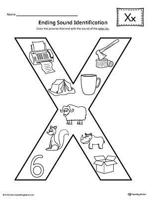 Letter X Worksheets for Kindergarten Letter X Ending sound Color Worksheet