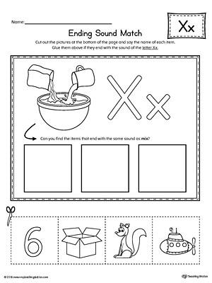 Letter X Worksheets for Kindergarten Letter X Ending sound Picture Match Worksheet