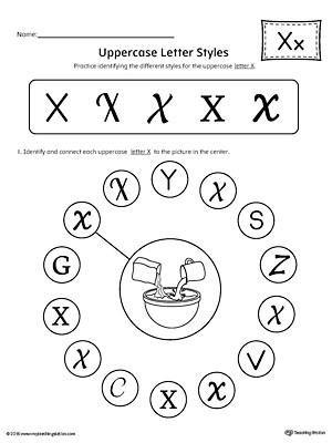 Letter X Worksheets for Kindergarten Uppercase Letter X Styles Worksheet