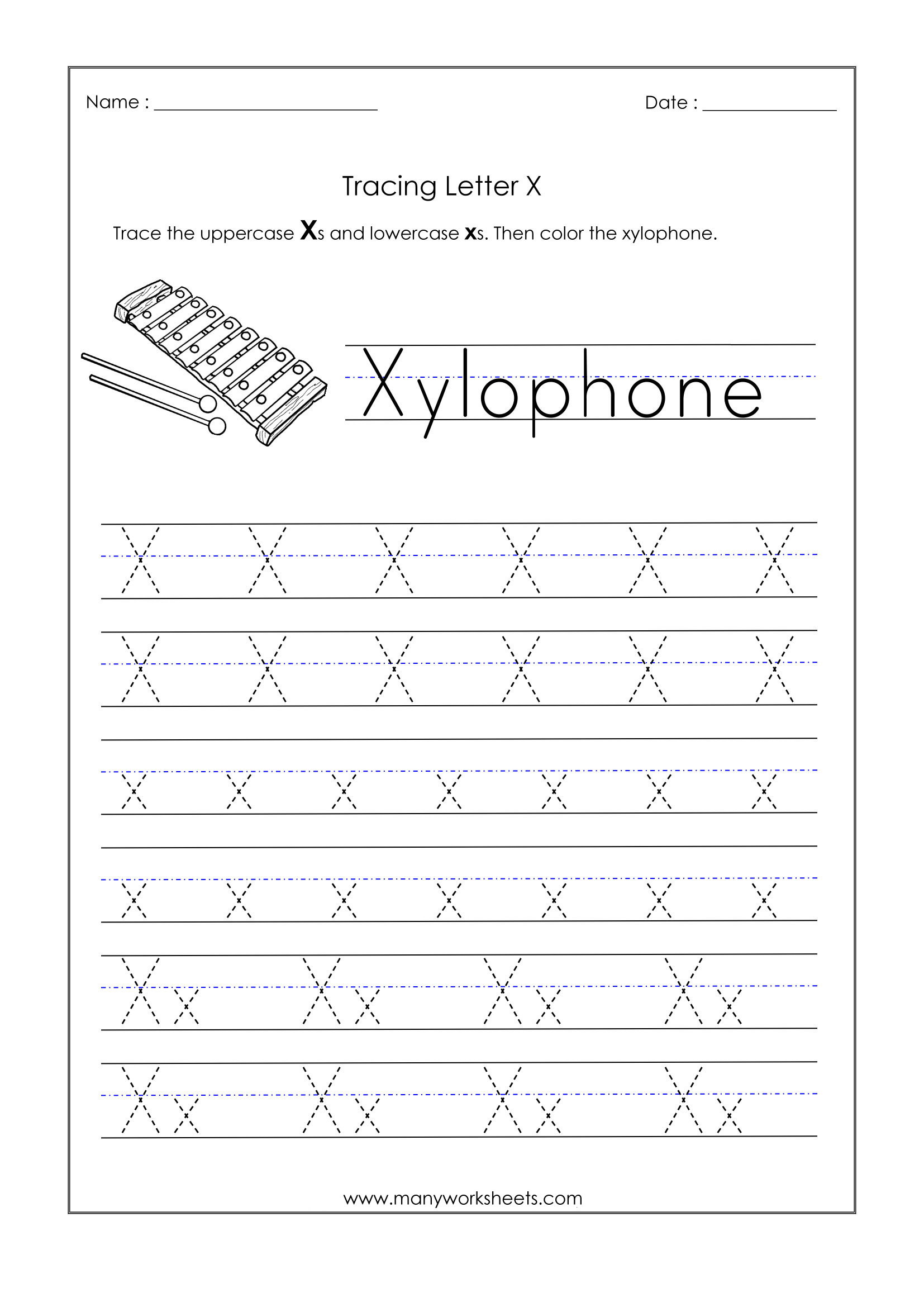 Letter X Worksheets for Preschool Letter X Worksheets for Kindergarten – Trace Dotted Letters