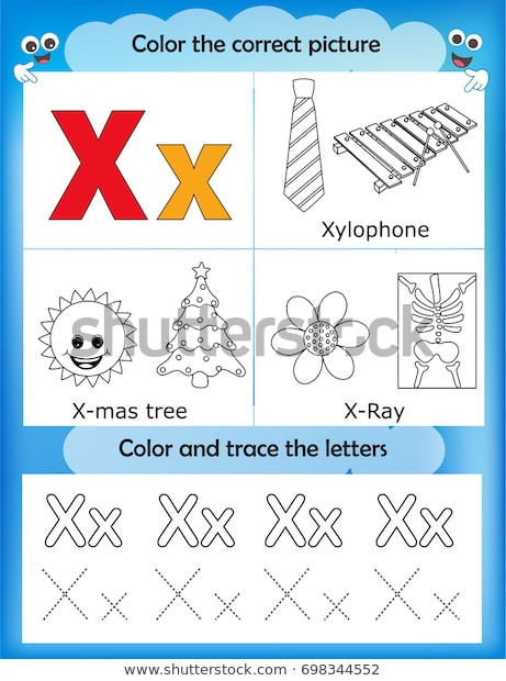 Letter X Worksheets for Preschoolers Alphabet Learning Letters Coloring Graphics Printable