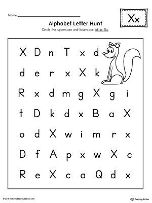 Letter X Worksheets for Preschoolers Alphabet Letter Hunt Letter X Worksheet