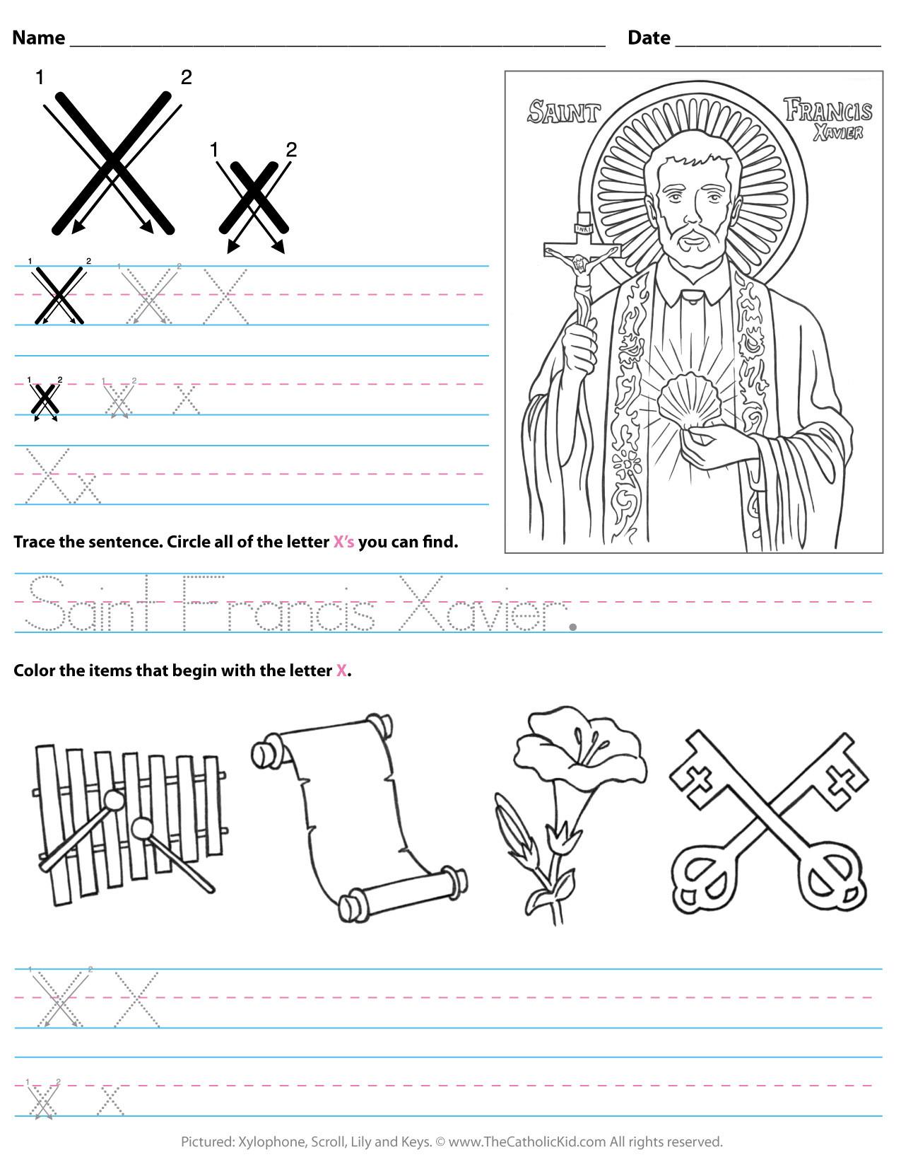 Letter X Worksheets for Preschoolers Catholic Alphabet Letter X Worksheet Preschool Kindergarten