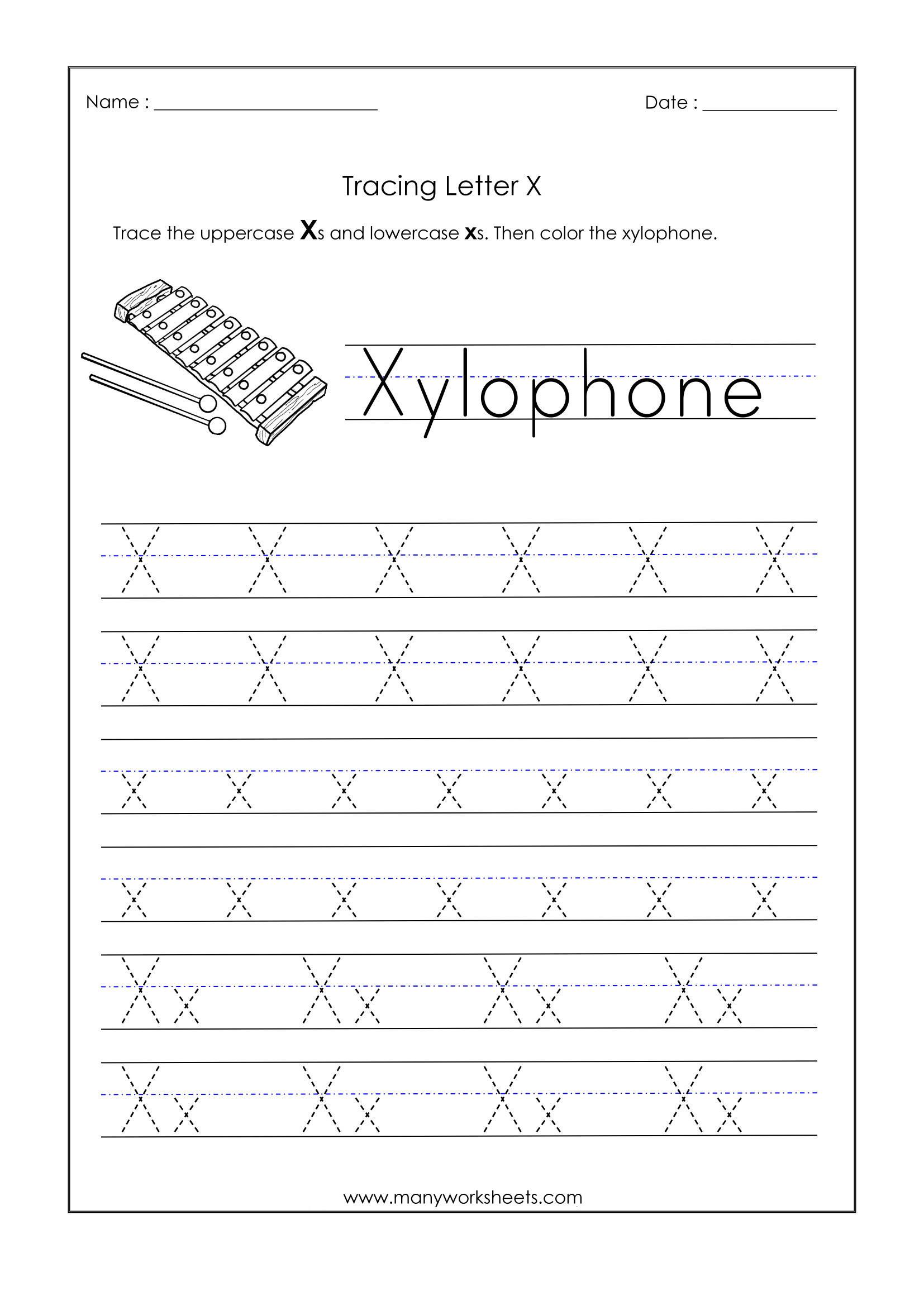 Letter X Worksheets for Preschoolers Letter X Worksheets for Kindergarten – Trace Dotted Letters