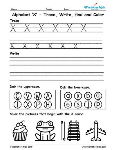 Letter X Worksheets Kindergarten Alphabet Letter X Trace Write Find Color Free Printable Pdf