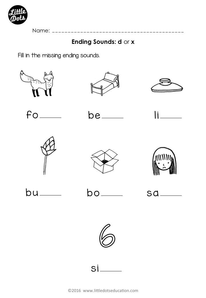 Letter X Worksheets Kindergarten Free Phonics Ending sounds D or X Worksheet for Preschool or