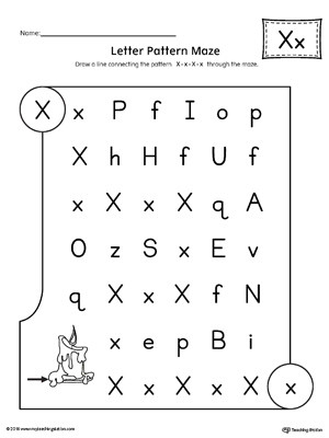Letter X Worksheets Kindergarten Letter X Pattern Maze Worksheet