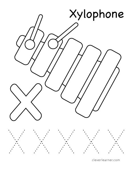 Letter X Worksheets Kindergarten Letter X Writing and Coloring Sheet