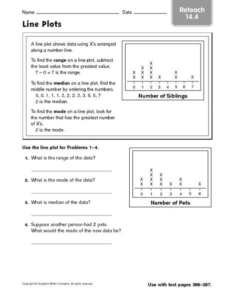 Line Plot Worksheet 5th Grade Line Plots Reteach 14 4 Worksheet for 4th 6th Grade