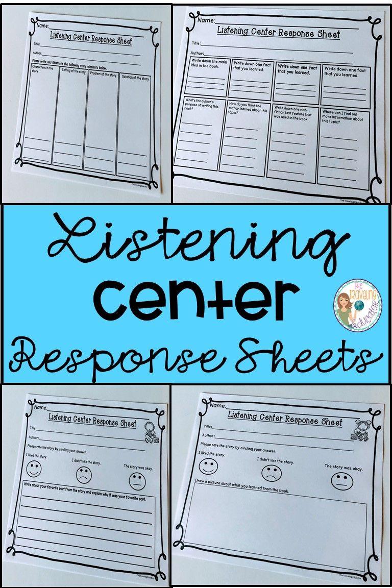 Listening Center Response Sheet Kindergarten Listening Center Response Sheets