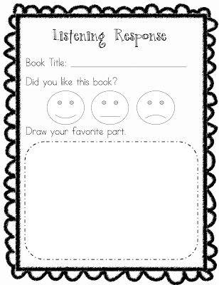 Listening Center Response Sheet Kindergarten Printable Kindergarten Listening Center Response Sheet