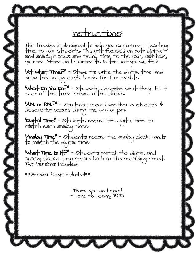 Listening Center Response Sheet Kindergarten Telling Timemathunit