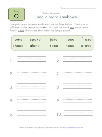 Long O Worksheets 2nd Grade Long O Word Rainbows Worksheet