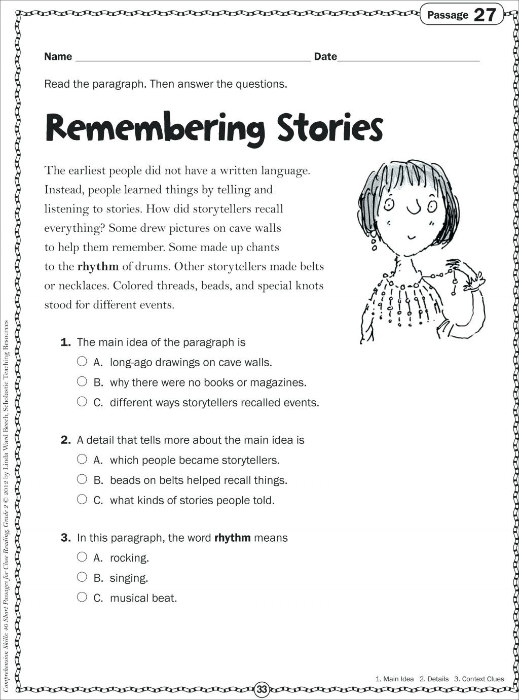 Main Idea 2nd Grade Worksheet Learn Line Kindergarten Grade Reading Worksheets