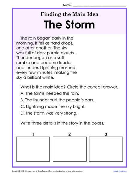 Main Idea 2nd Grade Worksheet Main Idea A Story Worksheet Worksheets
