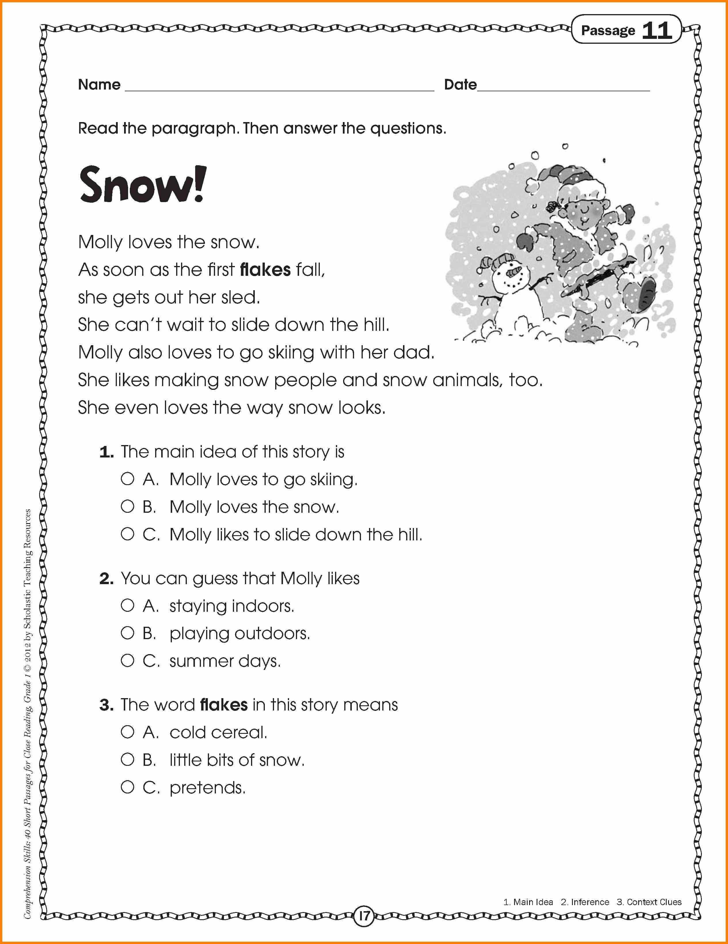 Main Idea 2nd Grade Worksheet Main Idea Worksheets for 3rd Grade