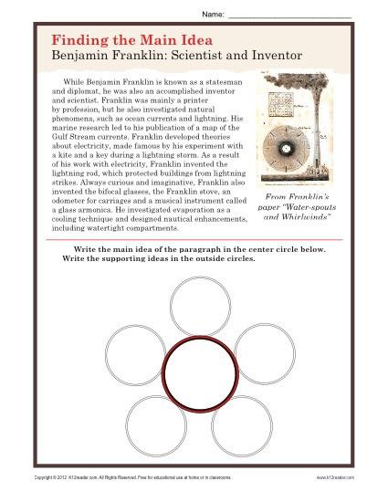 Main Idea 2nd Grade Worksheet Middle School Main Idea Worksheet About Ben Franklin