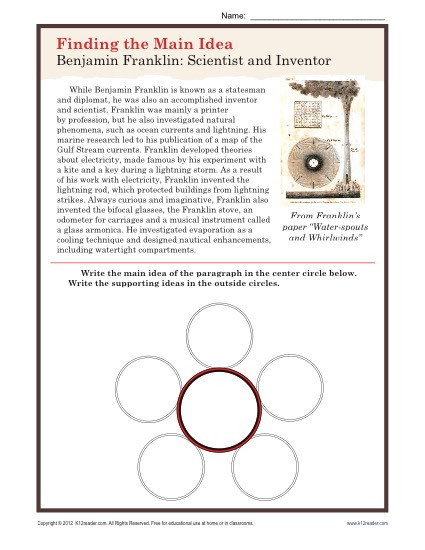 Main Idea 3rd Grade Worksheets Middle School Main Idea Worksheet About Ben Franklin