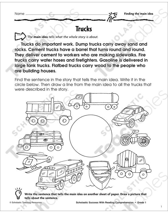 Main Idea Worksheets Grade 1 Finding the Main Idea Grade 1 Collection