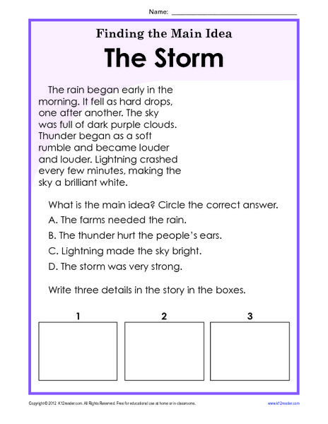 Main Idea Worksheets Grade 1 Finding the Main Idea Worksheets 3rd Grade