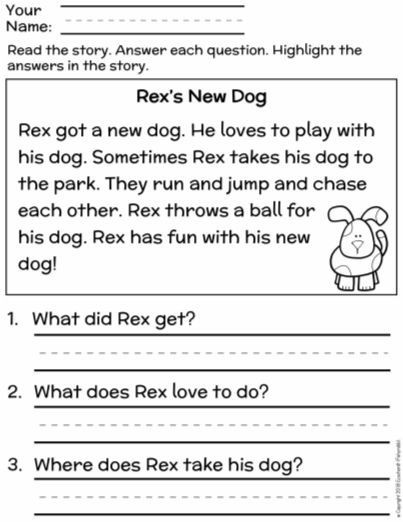 Main Idea Worksheets Grade 1 Free First Grade Reading Prehension Finding the Main