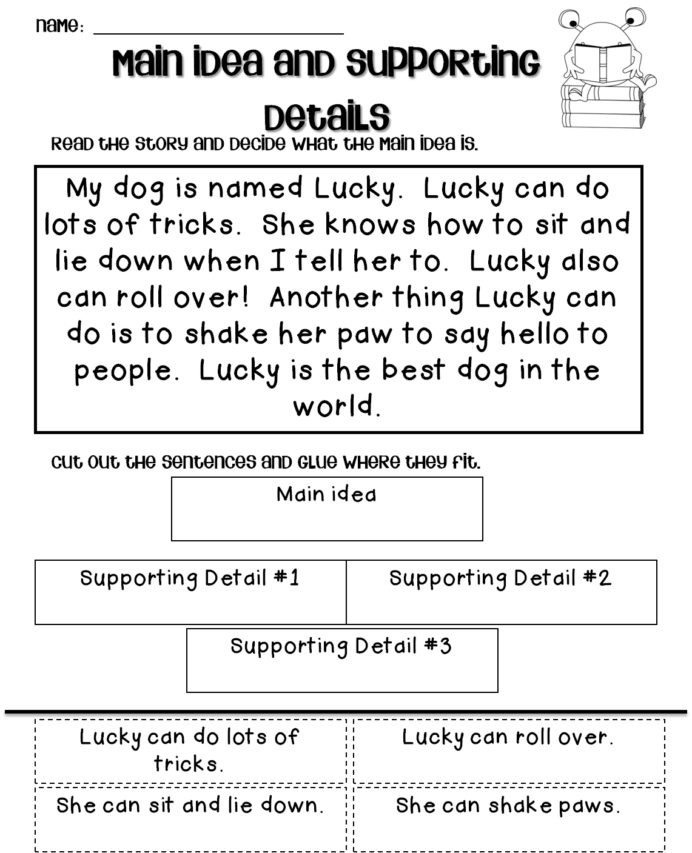 Main Idea Worksheets Grade 1 Main Idea Worksheets 2nd Grade Printable and Details for