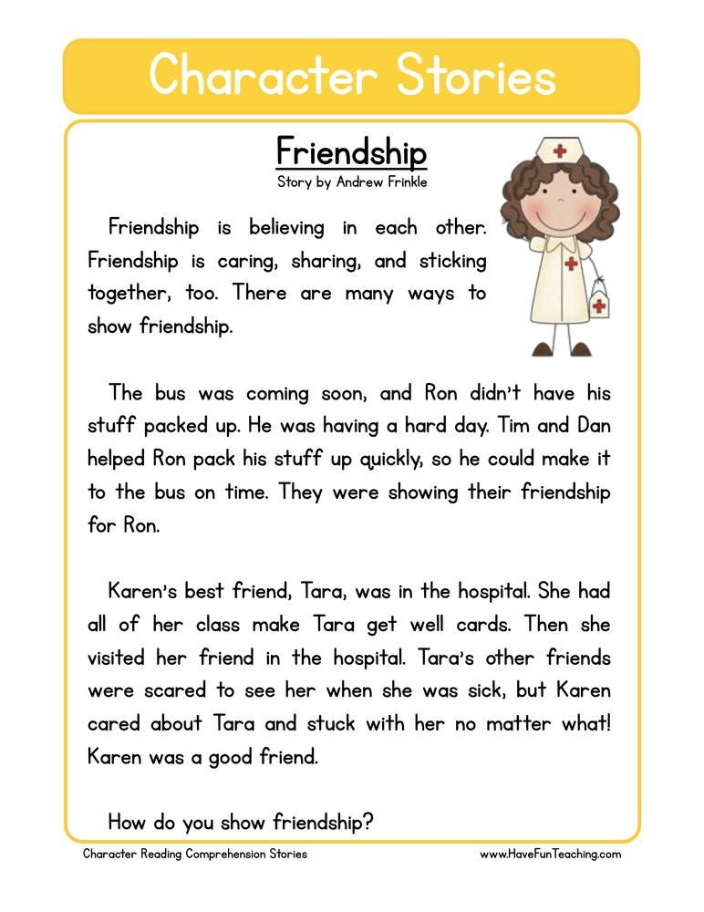 Making Friends Worksheets Kindergarten Friendship Character Reading Prehension Worksheet