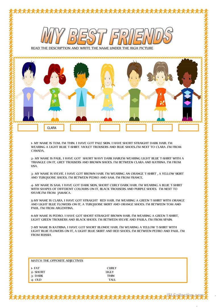 Making Friends Worksheets Kindergarten My Best Friends English Esl Worksheets for Distance