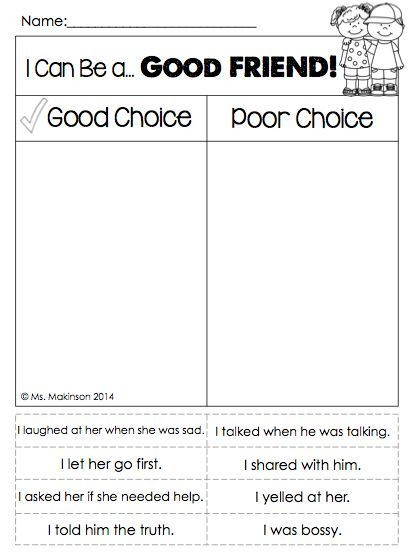Making Friends Worksheets Kindergarten Pin On Counseling Stuff