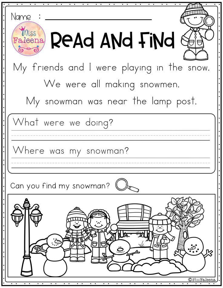 Making Friends Worksheets Kindergarten Winter Reading Prehension Read and Find