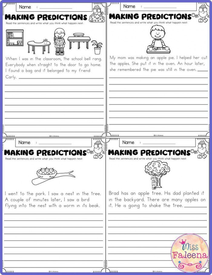 Making Predictions Worksheet 2nd Grade Learning to Make Predictions Worksheets