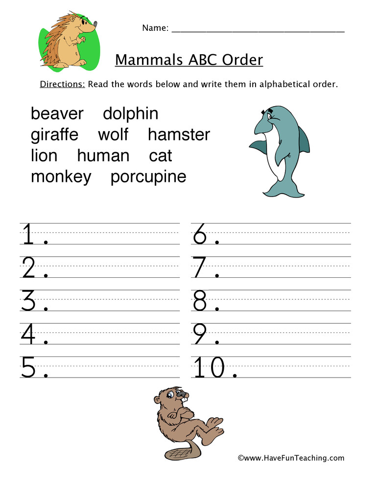Mammal Worksheets First Grade Mammals Alphabetical order Worksheet
