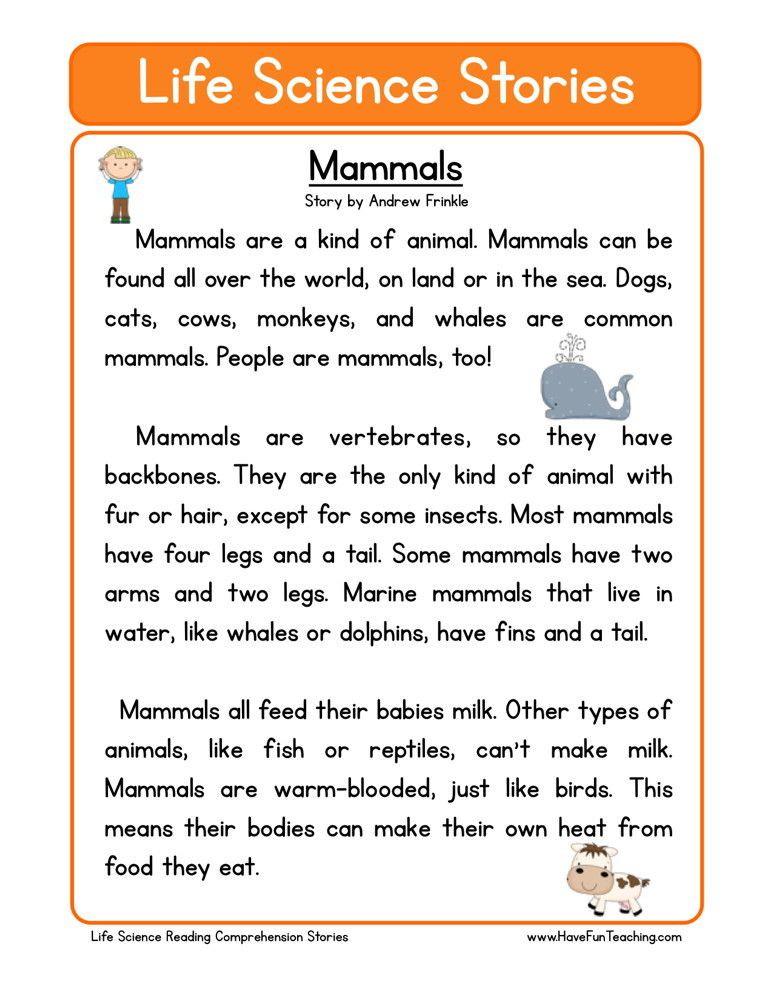 Mammal Worksheets First Grade Reading Prehension Worksheet Mammals