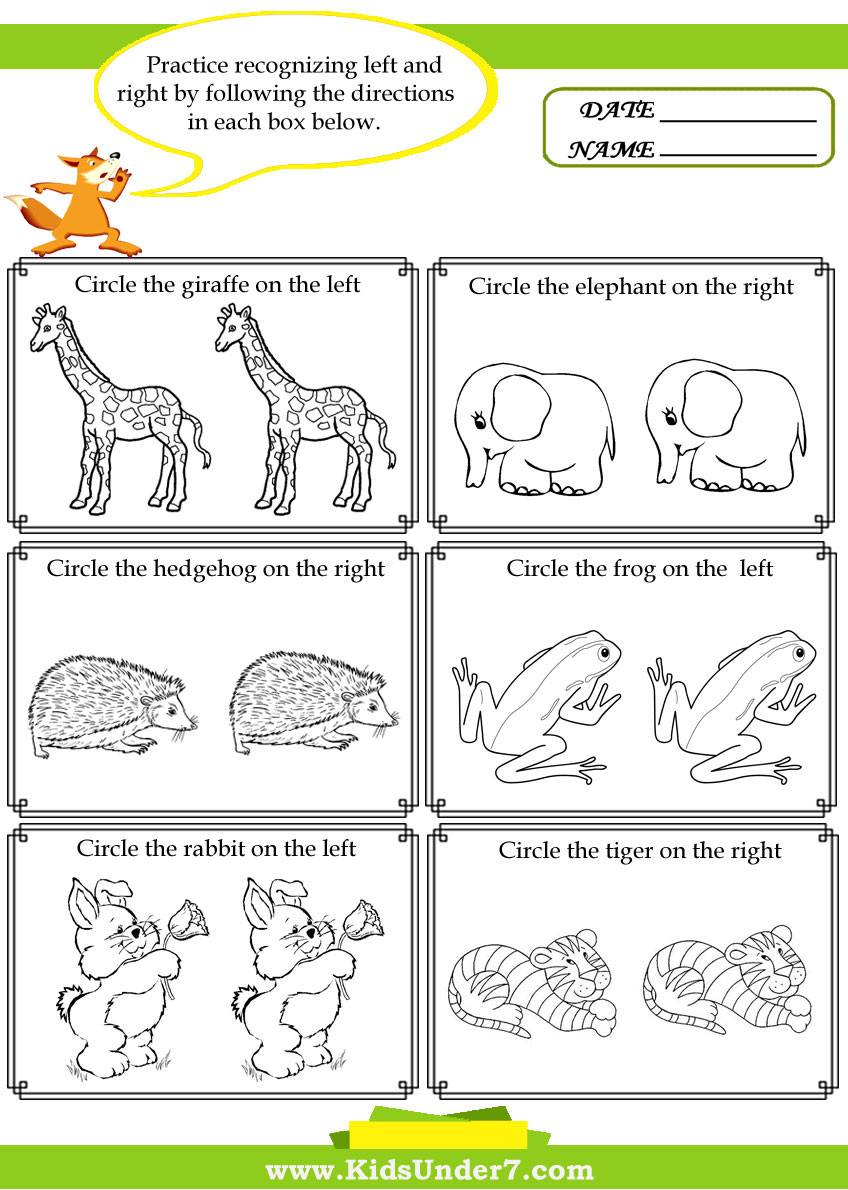 Mammal Worksheets for Kindergarten Kids Under 7 Left and Right Worksheets