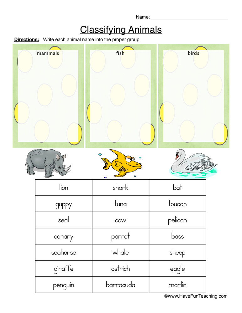 Mammal Worksheets for Kindergarten Mammals Fish or Birds Classifying Animals Worksheet