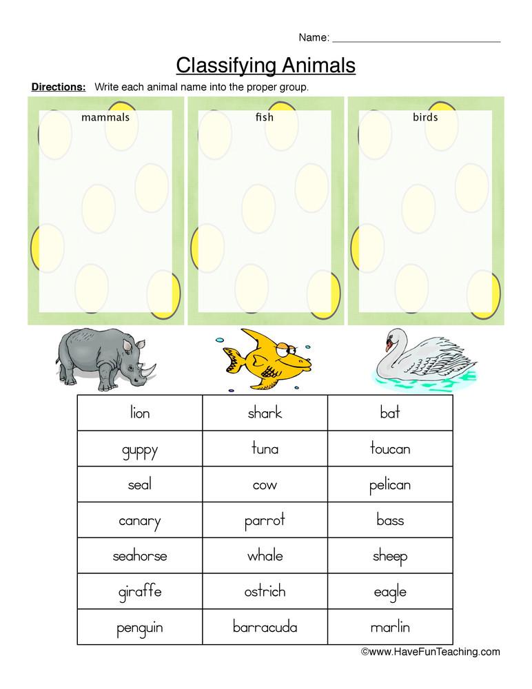 Mammal Worksheets for Kindergarten Mammals Fish or Birds Classifying Animals Worksheet