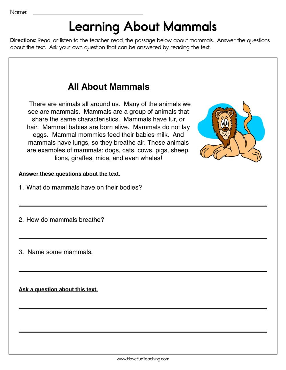 Mammal Worksheets for Kindergarten Pin On Reading Prehension