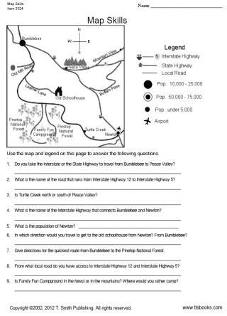 Map Scale Worksheet 3rd Grade Map Skills