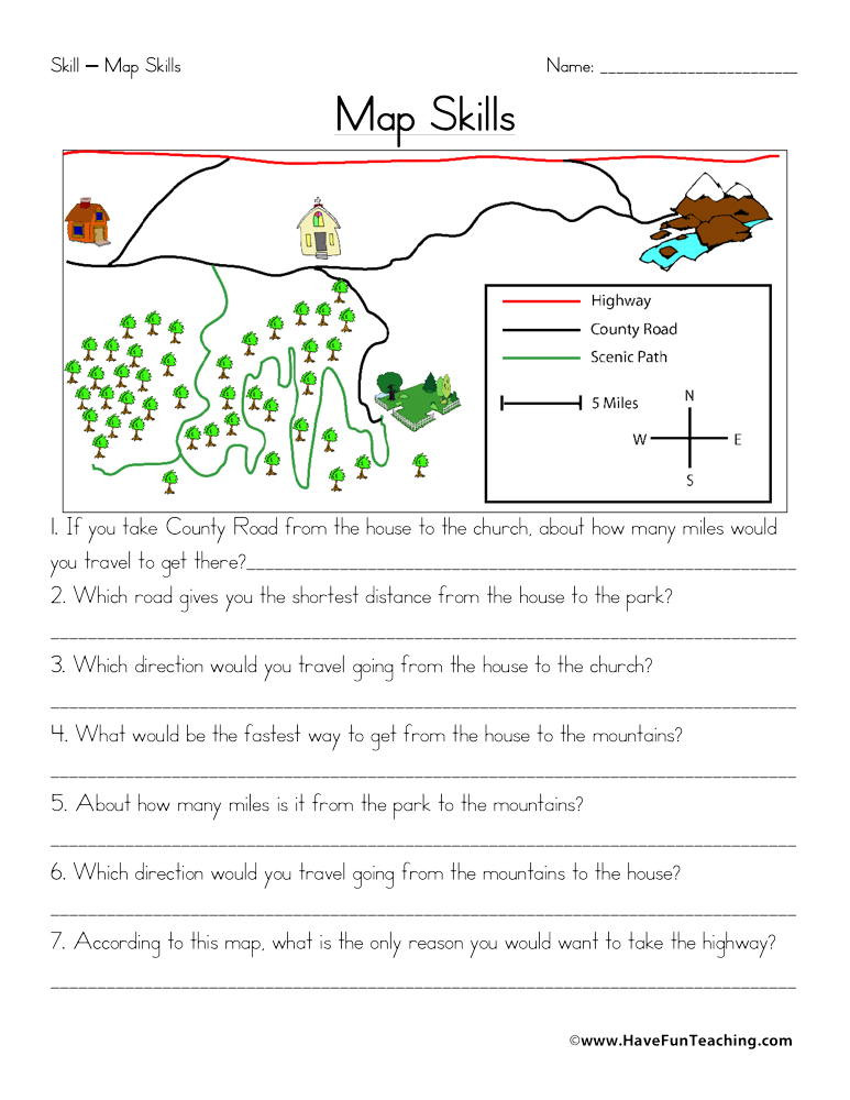 Map Scale Worksheet 3rd Grade Map Skills Worksheet