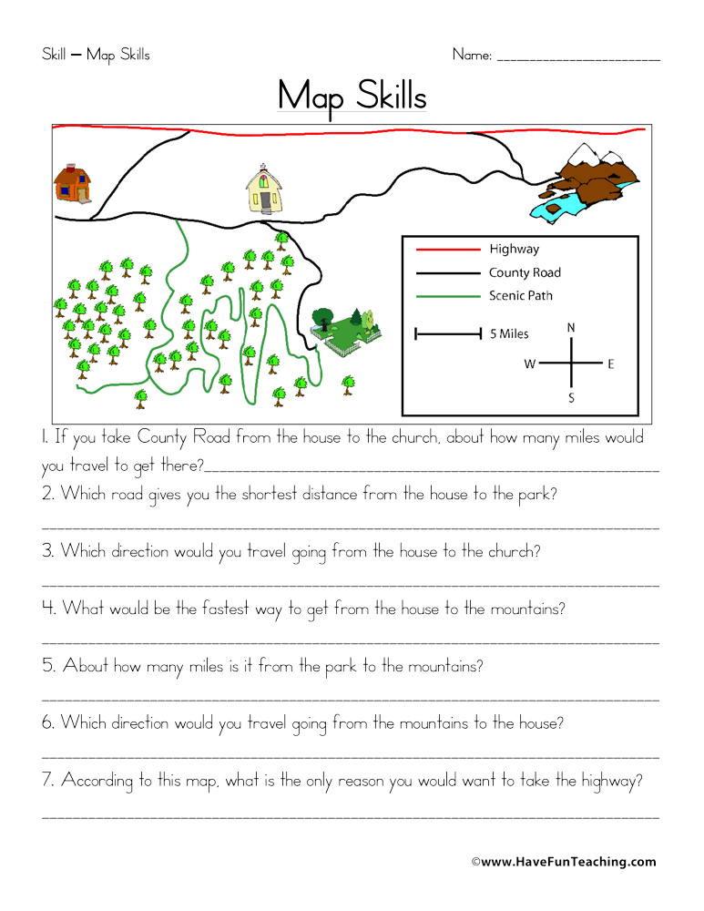 Map Scale Worksheet 3rd Grade Map Skills Worksheet
