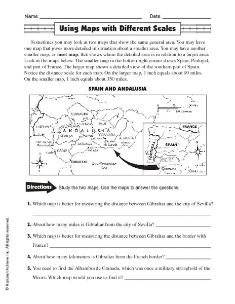 Map Scale Worksheet 4th Grade Free Map Scale Lesson Plans & Worksheets Reviewed by Teachers
