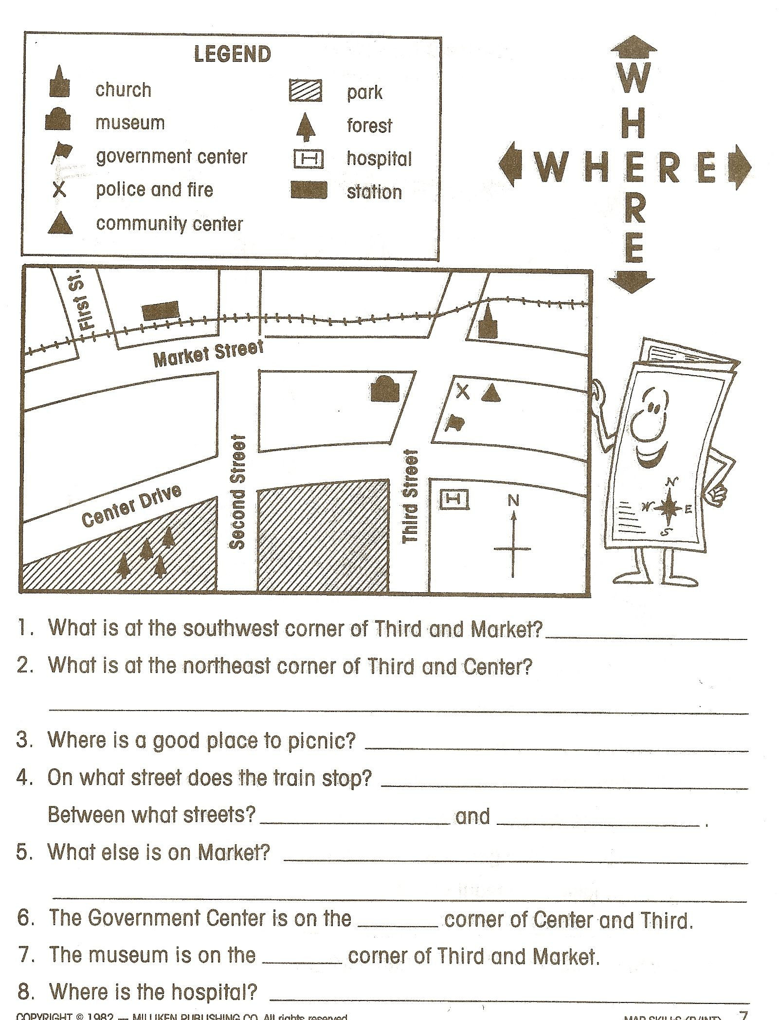 Map Scale Worksheet 4th Grade Map Reading Legends 1 603—2 096 Pixels