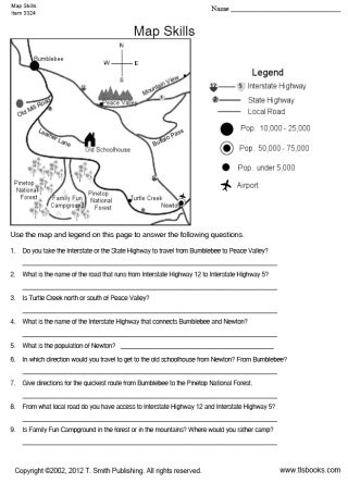 Map Scale Worksheet 4th Grade Map Skills