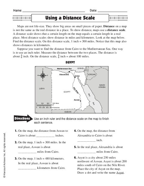 Map Scale Worksheet 4th Grade Using A Distance Scale Worksheet for 4th 6th Grade