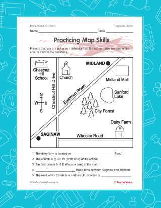 Map Worksheet 2nd Grade Practicing Map Skills Printable Geography 2nd 4th Grade