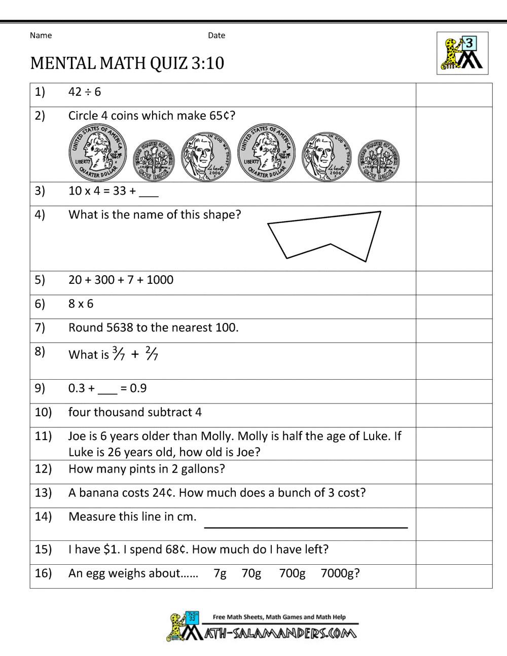 Mass Worksheets 3rd Grade 4 Free Math Worksheets Third Grade 3 Word Problems Mixed
