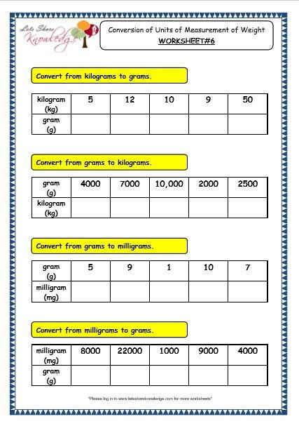 Mass Worksheets 3rd Grade Grade 3 Maths Worksheets 11 2 Conversion Of Units Of